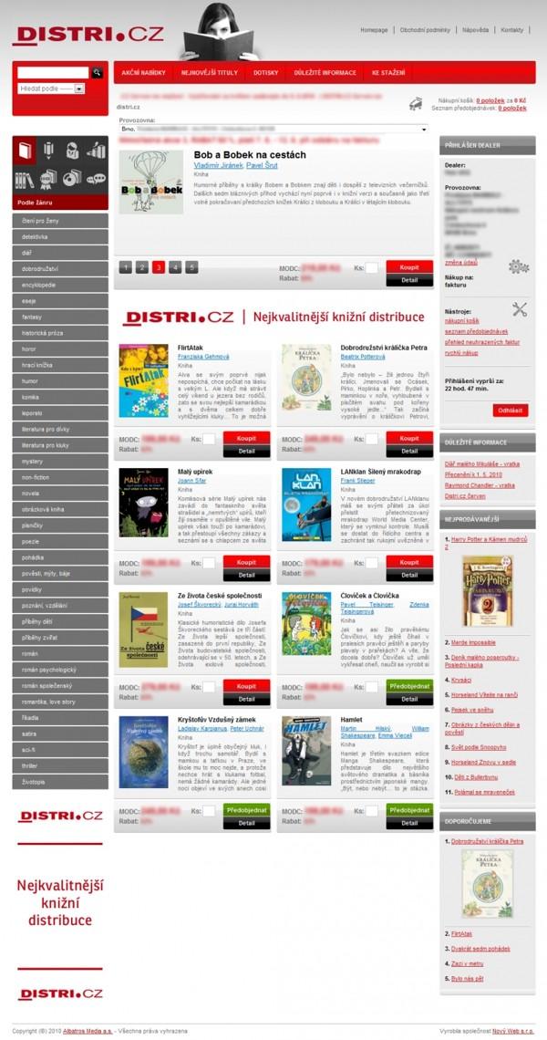 E-shop - úvodní stránka